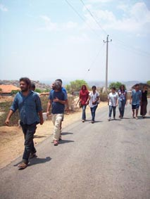 Walking to the site