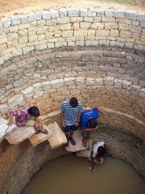 Taking a sample from the well